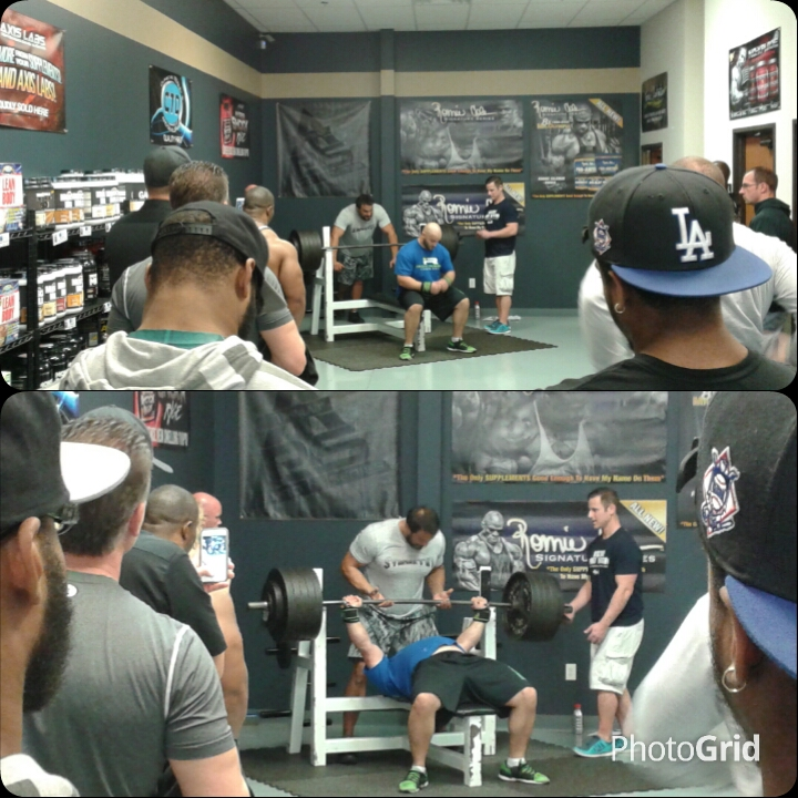 Benchpress contest at Discount Sports Nutrition. Participants had to bring canned goods and sign up. This guy bench pressed over 500lbs!