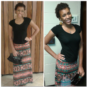Shoes: Rue21, Skirt: Target,  Shirt: Wal-Mart,  and earrings: Romancing the Stone (gift from the boyfriend)