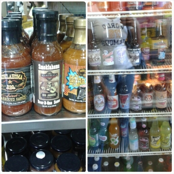 Oklahoma barbecue sauces and a variety of pop.
