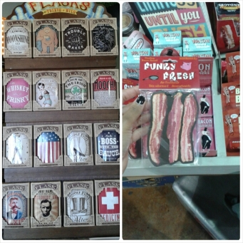 Quirky labeled flasks and a wide assortment of bacon scented items
