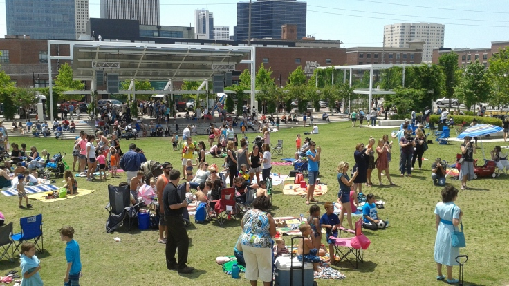 Enjoying Food Truck Wednesday at Guthrie Green. It was a big turnout!