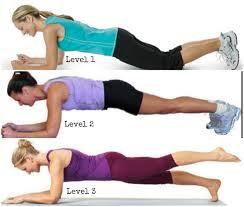 Various degrees of planks